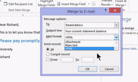 send bulk email access word outlook