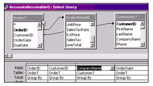 we will begin by creating a query to hold our accounts receivable data