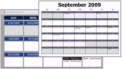 ms access schedule template