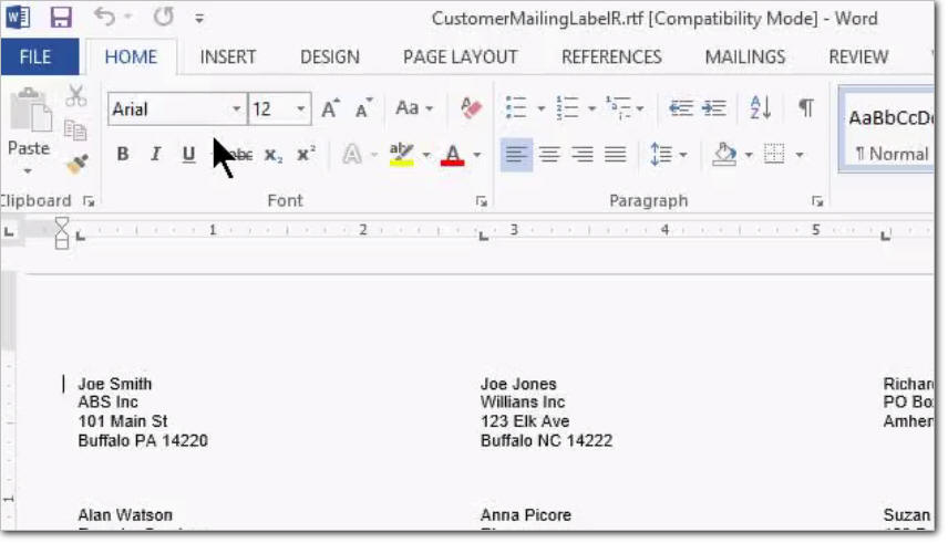 how to set up default printing labels in microsoft word
