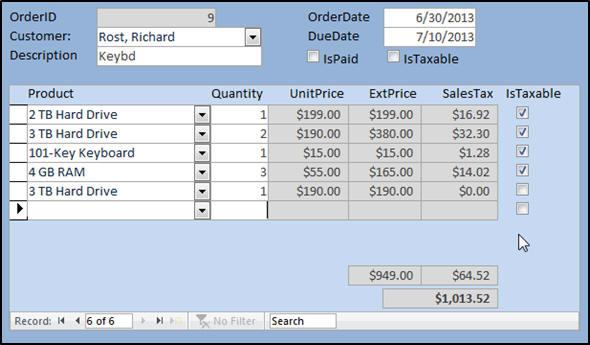 Microsoft Access Expert Level 8 Tutorial Order Entry Form on google docs order form, infopath order form, word order form,