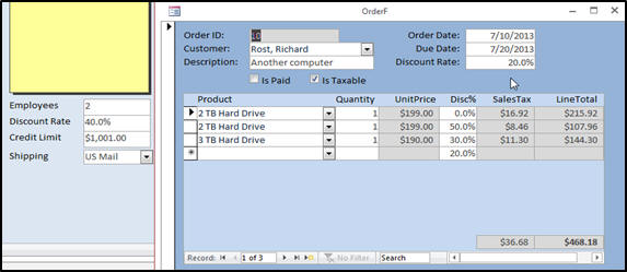 Microsoft Access Expert Level 9 Tutorial Printable Invoice on google docs order form, infopath order form, word order form,