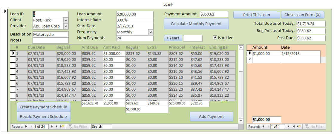 Microsoft Access Loan Amortization Seminar LoanTemplate
