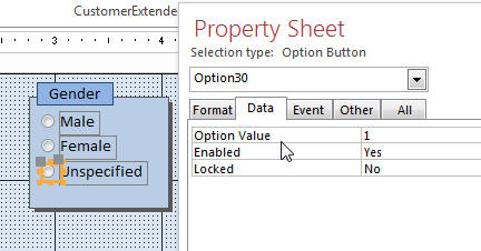 Access Option Group Value 29