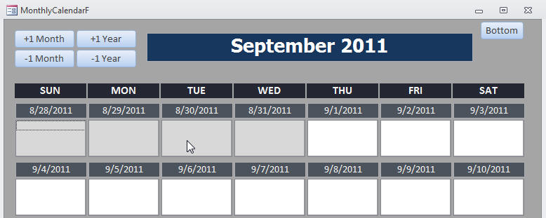 ms access calendar template