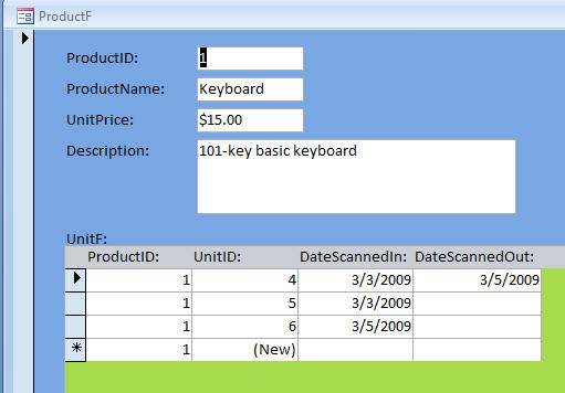 access product database template