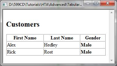Microsoft HTA Tutorial: Advanced - Tabular Data Control